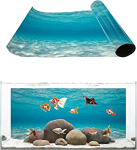 T&H XHome Aquarium Décor Backgrounds Pure Blue Water Pattern Fish Tank Background Aquarium Sticker Wallpaper Decoration Picture PVC Adhesive Poster