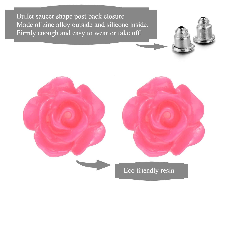 Onnea Lot de Boucles Doreilles pour Enfants Fille Perle Fleur Rose Cristal