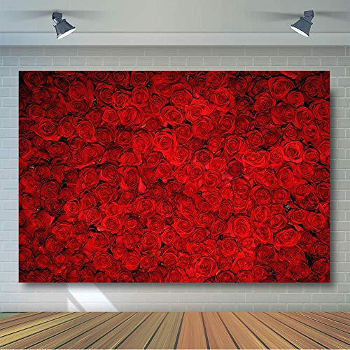 COMOPHOTO Red Rose Floral Wedding Photography Backdrop Valentine's Day Party Photo Backdrop for Photo Booth Props Pictures 7x5ft Vinyl Cloth
