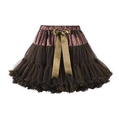 Jusian de niña Lolita tutú Pettiskirt baile fiesta faldas marrón ...