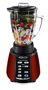 Oster BVCB07-R00-FFP Reverse Crush Counterforms Brushed Stainless Steel Blender with 6-Cup Glass Jar, Red
