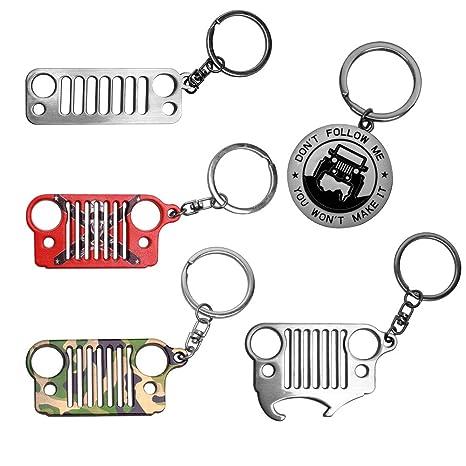 Amazon.com: VOFONO 5 llaveros de cadena para Jeep (incluye ...