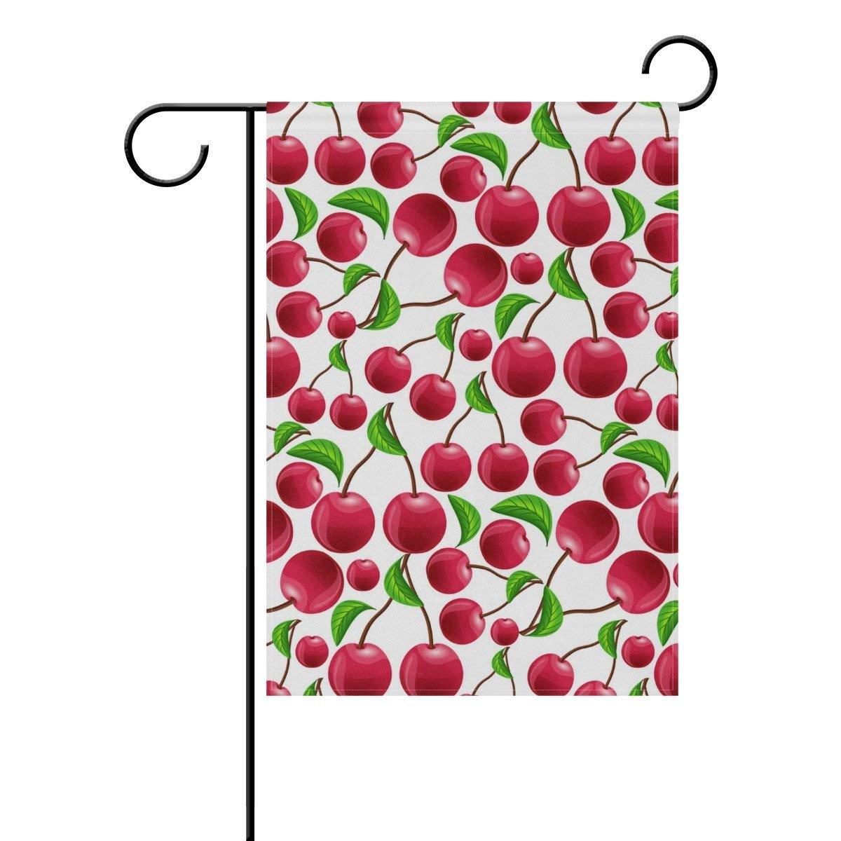 Dozili Bandera de Fruta, Cerezo Cerezo Cerezo  Rojo , decoración del hogar, Bandera de jardín Resistente a la Intemperie y Bandera de Doble Cara, poliéster, Colorful, 28