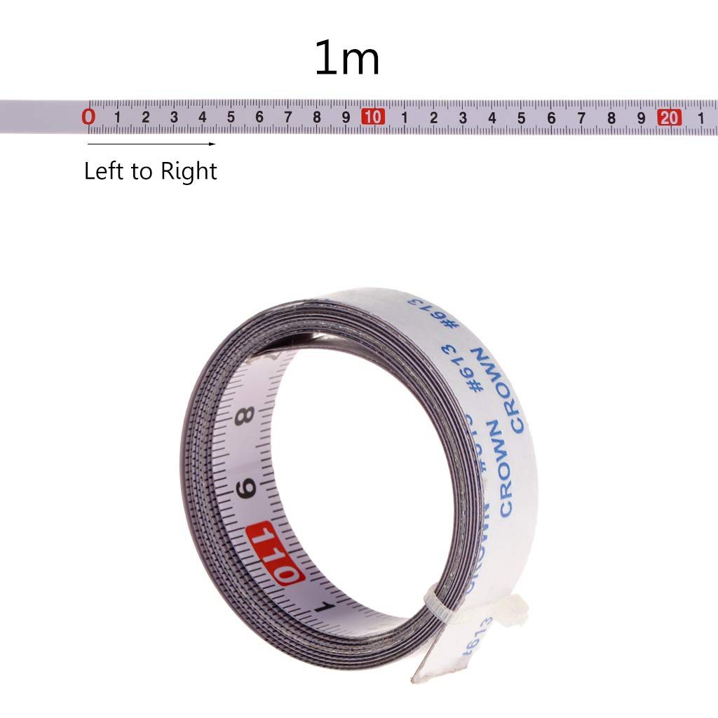 Ruban de mesure autocollant 1 m // 2 m // 3 m // 5 m // 13 mm de large /à droite /à droite /à gauche au milieu des deux c/ôt/és.