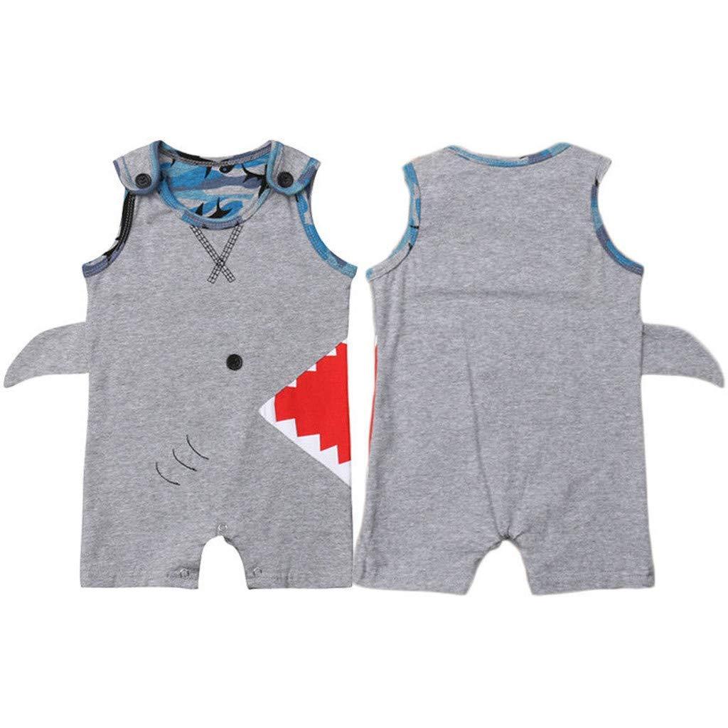 Fashion Newborn Infant Baby Boy 3D Shark Print Summer Romper Clothes Sleeveless Vest Jumpsuit Short Pants Outfits Gray 0-6 M
