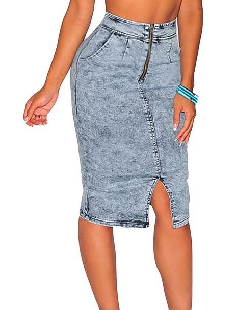 d118a0d2a Christmas DH-MS Dress Women's Light Blue Denim High Waist Midi Skirt ...