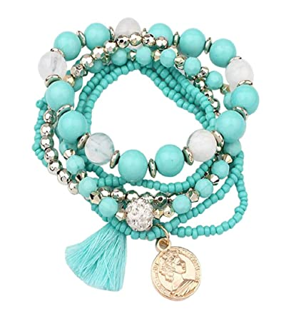 becae07c484d7 Clearance Sale!💗DEESEE(TM)💗Women Multilayer Beads Bangle Tassels  Bracelets (Light Blue)