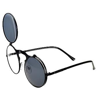 3a826070edc Amazon.com  Heartisan Unisex Retro Metal Round Frame Flip Up Vintage  Sunglasses C1  Clothing