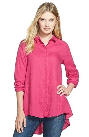 3dd789dadc Eileen Fisher Ginger Pink High Low Classic Collar Organic Linen Shirt  (X-Small)