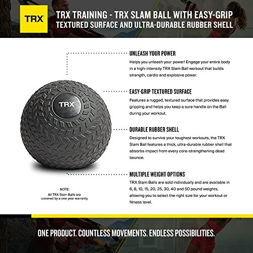 TRX Training Slam Ball, Easy-Grip Tread & Durable Rubber Shell, 30lbs by TRX (Image #1)