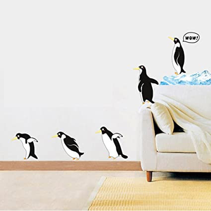 Amazon.com: Winhappyhome Cute Penguin Wall Art Stickers for Kids ...