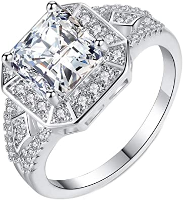 Temego 14k White Gold Large Square Princess Cut Cubic Zirconia Cluster Cz Halo Wedding Engagement Ring Size 6 9 Amazon Com