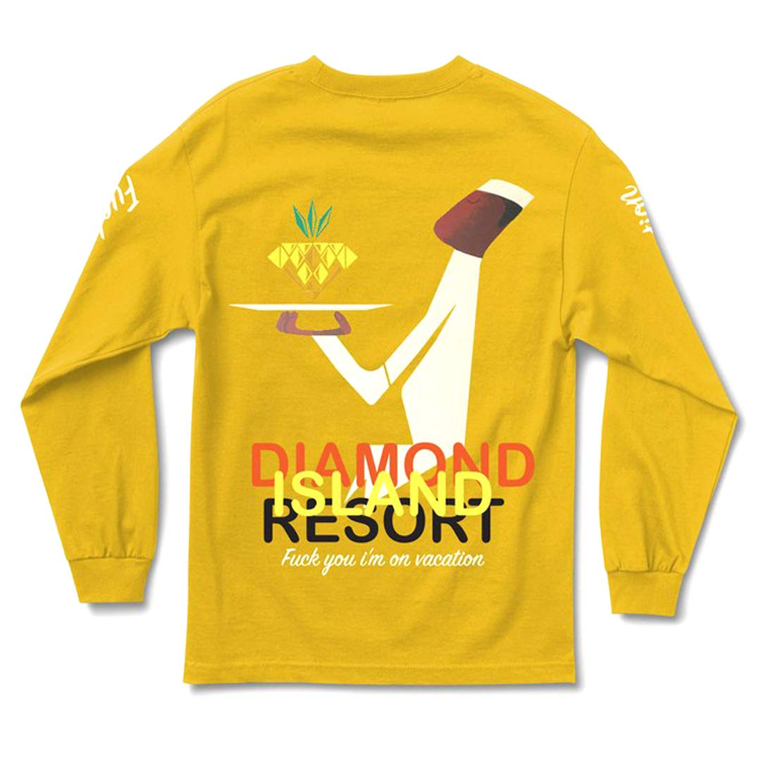 Diamond Supply Co Resort Long Sleeve Tee Gold Mens Graphic Shirt