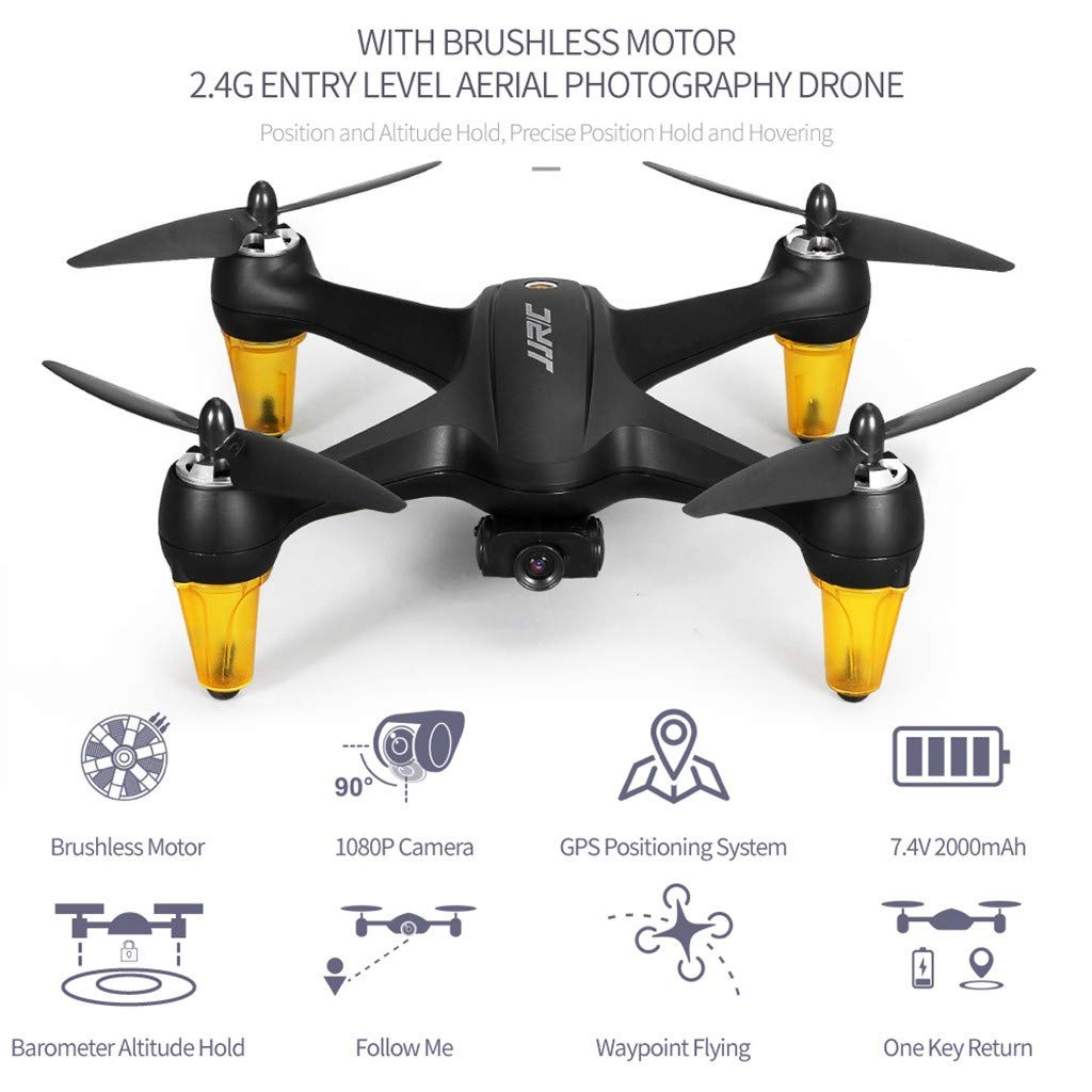 MOZATE JJR/C X3P GPS 5.8G WiFi FPV Wide-Angle 1080P Brushless RC Quadcopters Drone RTF (Black) by MOZATE (Image #4)