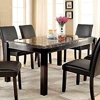 Amazoncom Furniture Of America Jared Genuine Marble Top Dining - Marble top dining table with bench