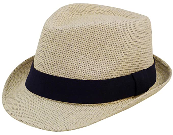 Eqoba Man and Women s Summer Short Brim Natural Straw Fedora Hat ... 73b27658a509