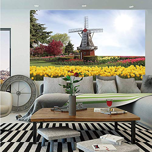 SoSung Windmill Decor Huge Photo Wall Mural,Serene Vast Traditional Garden with Blossoming Flowers Trees Dutch Tulips Decorative,Self-Adhesive Large Wallpaper for Home Decor 108x152 inches,Multicolor