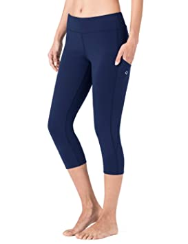NAVISKIN Pantalones Mujer Capri Mallas Deportativas Yoga Pilates Leggings Largos Bolsillos Elástico Transpirable Training Running Fitness