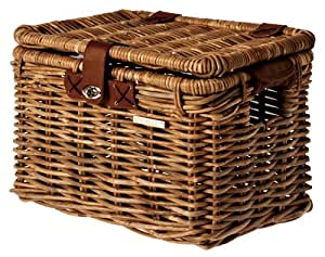 Bell Basil 152054 Denton Wicker Bicycle Basket with Lid, Natural Brown, Large