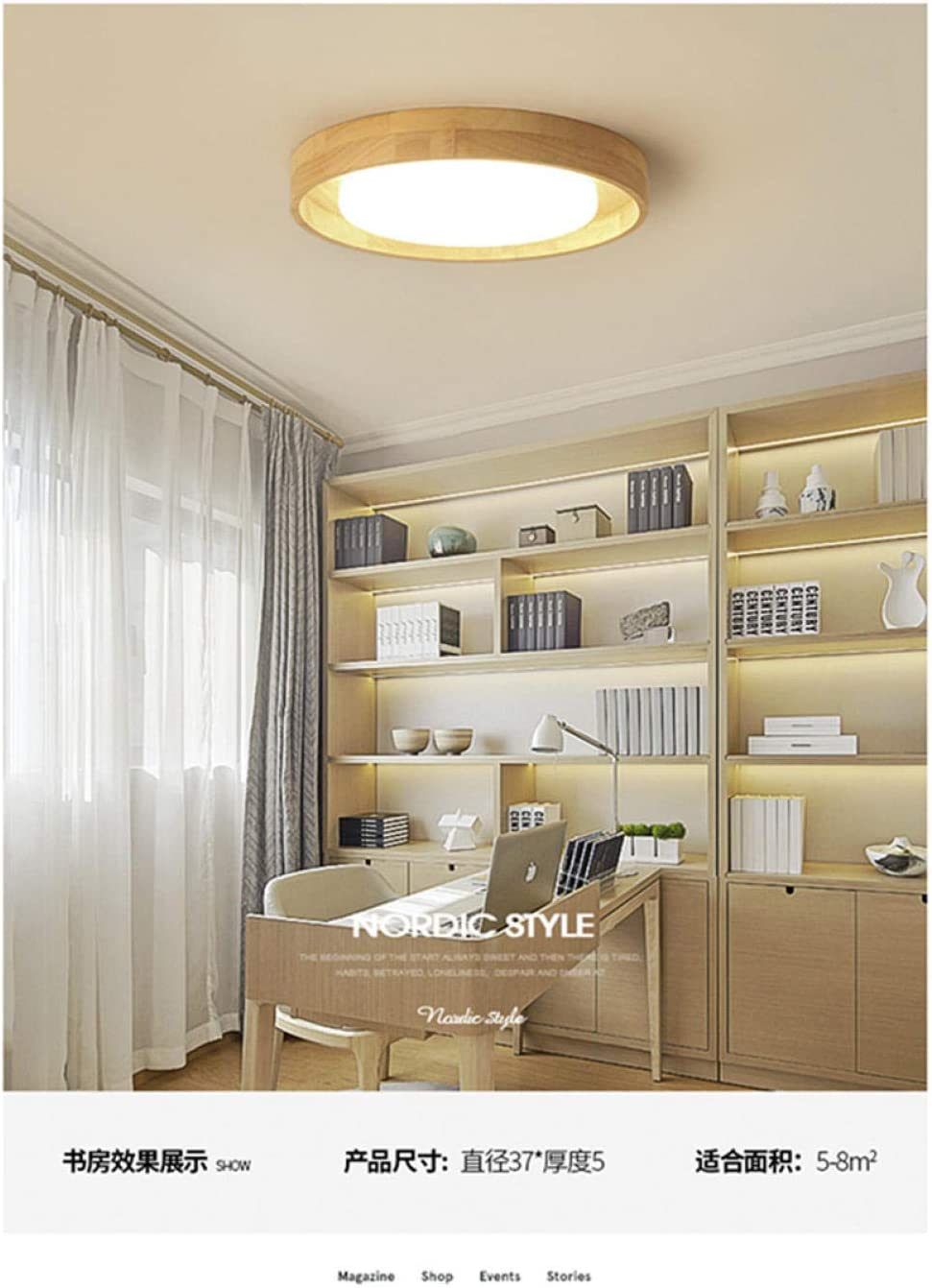 Ceiling Lights Ceiling Lamp Spot Lighting Modern Control Dimmable Led Chandelier Pinewoods Acrylic Lampshade Chrome Led Ceiling Chandelier Luxury Foyer Light-58X5Cm_39W 37x5cm 18w