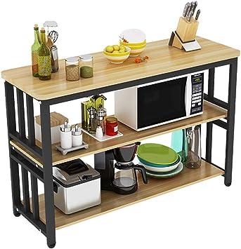 Bjia Estante de la cocina 3 capas Mesa de comedor rectangular ...