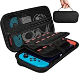 [20 Game Holder]Hestia Goods Nintendo Switch Case with 20 Game Holder, New Design Hard Shell Travel Carrying Case, Protective Storage Bag Pouch for Nintendo Switch Console & Accessories, Black
