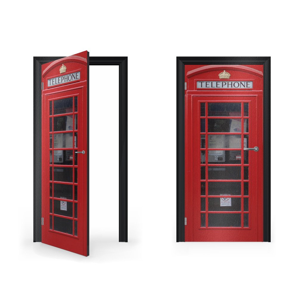 DoorWrap: British Red Telephone Box Vinyl Sticker for Door / Bedroom / Home Vinyl Revolution