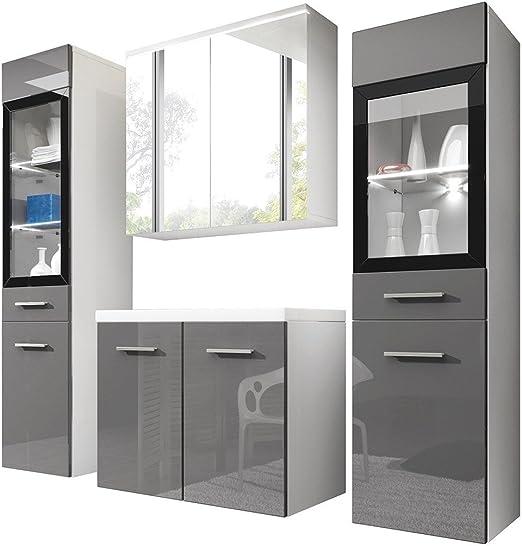 Badmöbel Set Udine II mit Waschbecken und Siphon, Modernes Badezimmer,  Komplett, Spiegelschrank, Waschtisch, Hochschrank, Möbel (mit weißer LED ...