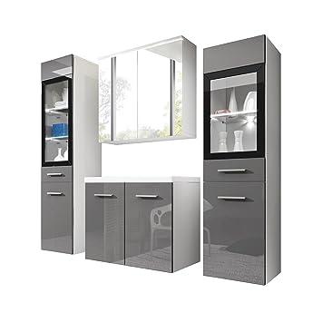 Badezimmermöbel weiß grau  Badmöbel Set Udine II mit Waschbecken und Siphon, Modernes ...