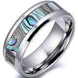 JewelryWe ジュエリー ファッション アクセサリー メンズ リング 指輪, クラシック シンプル, アバロニ アワビ貝, タングステン, カラー:シルバー(銀);[ギフトバッグを提供] - [23号]