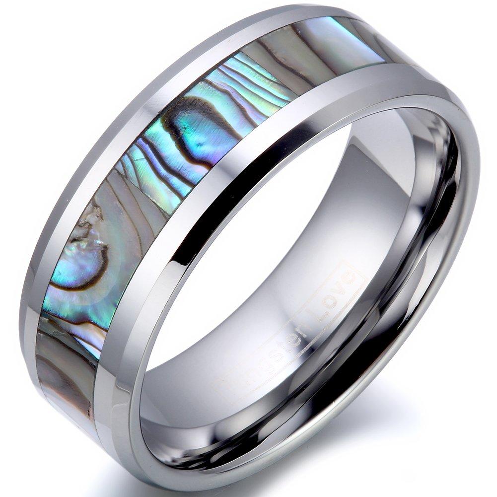 JewelryWe Schmuck Herren 8mm Breit Wolfram Wolframcarbid Ring Band Glänzend mit Abalone Muscheln Inlay Engagement Hochzeit Verprechen, Silber, Größe 52 bis 74 Größe 52 bis 74