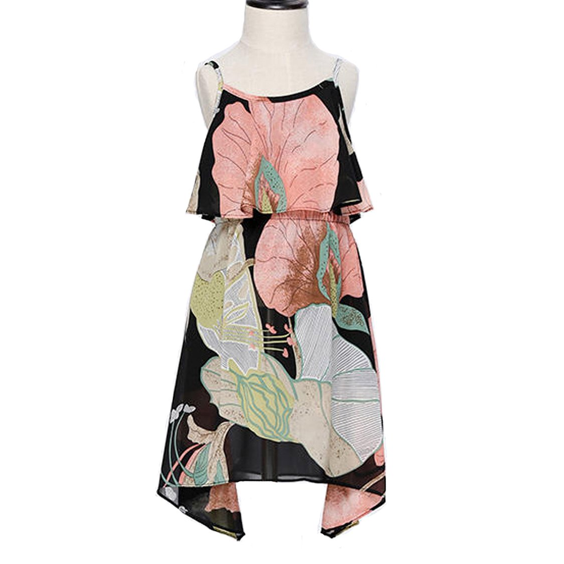 PopReal Mom and Girl Cute Shoulder-Straps Off Shoulder Floral Printed Chiffon Casual Playwear Dress by PopReal (Image #2)