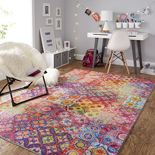 Mohawk Home Prismatic Coyle Floral Checkerboard Precision Printed Area Rug, 5'x8', Rainbow