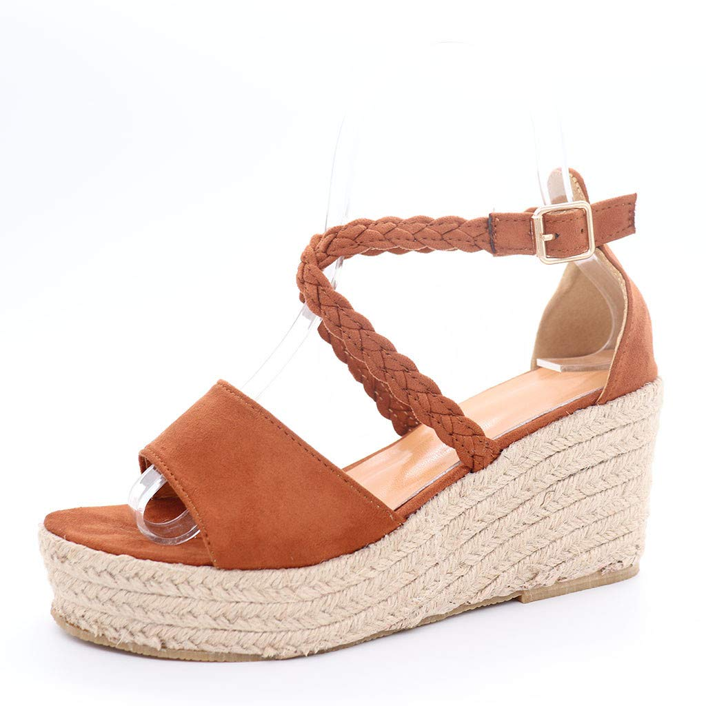 Amazon.com: Womens Summer Wedge Sandals,Sharemen Fashion Buckle Casual Wedges Shoes Braided Strap Heel Sandals: Clothing
