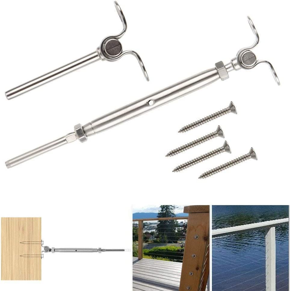 316-Stainless Steel Tensioner Set Cable Railing w//Deck Toggle Adjustable Angle