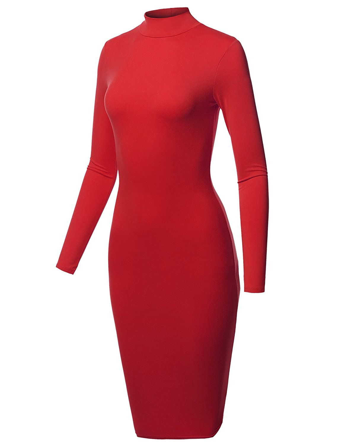Aawdrm0003 Red Awesome21 Women's Sexy Long Sleeves High Neck Mini BodyCon Dress  Made in USA