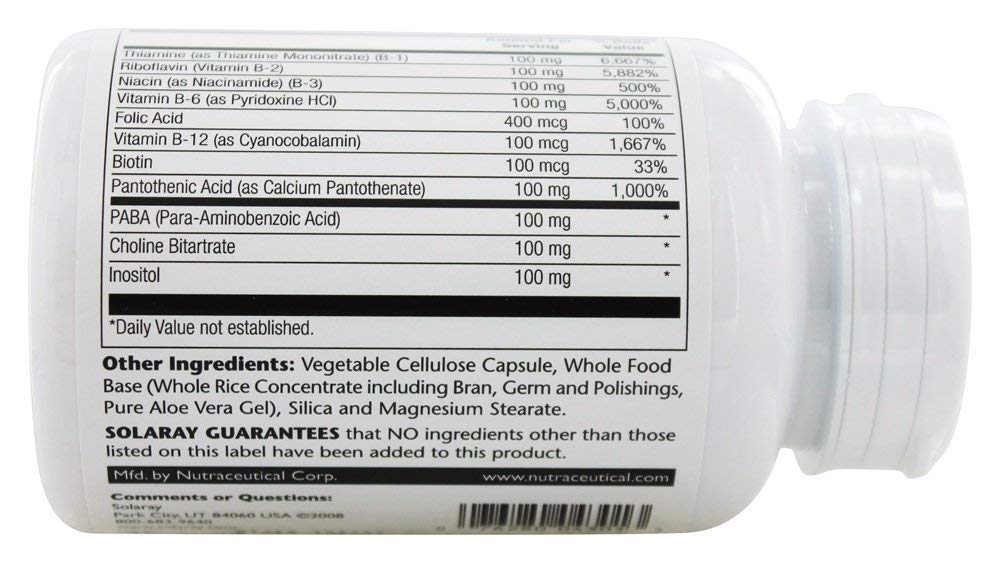 Amazon.com: SOLARAY B Complex 100, 100 CT: Health & Personal ...