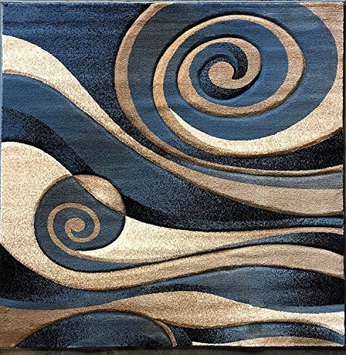 Sculpture Modern Square Abstract Area Rug Blue Design 258 (7 Feet 3 Inch X 7 Feet 3 Inch)