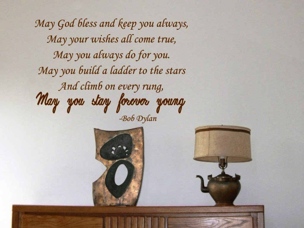 How do u put up a wall sticker custom vinyl decals how do you put amazoncom may god bless and keep you always bob dylan vinyl wall how do u amipublicfo Gallery
