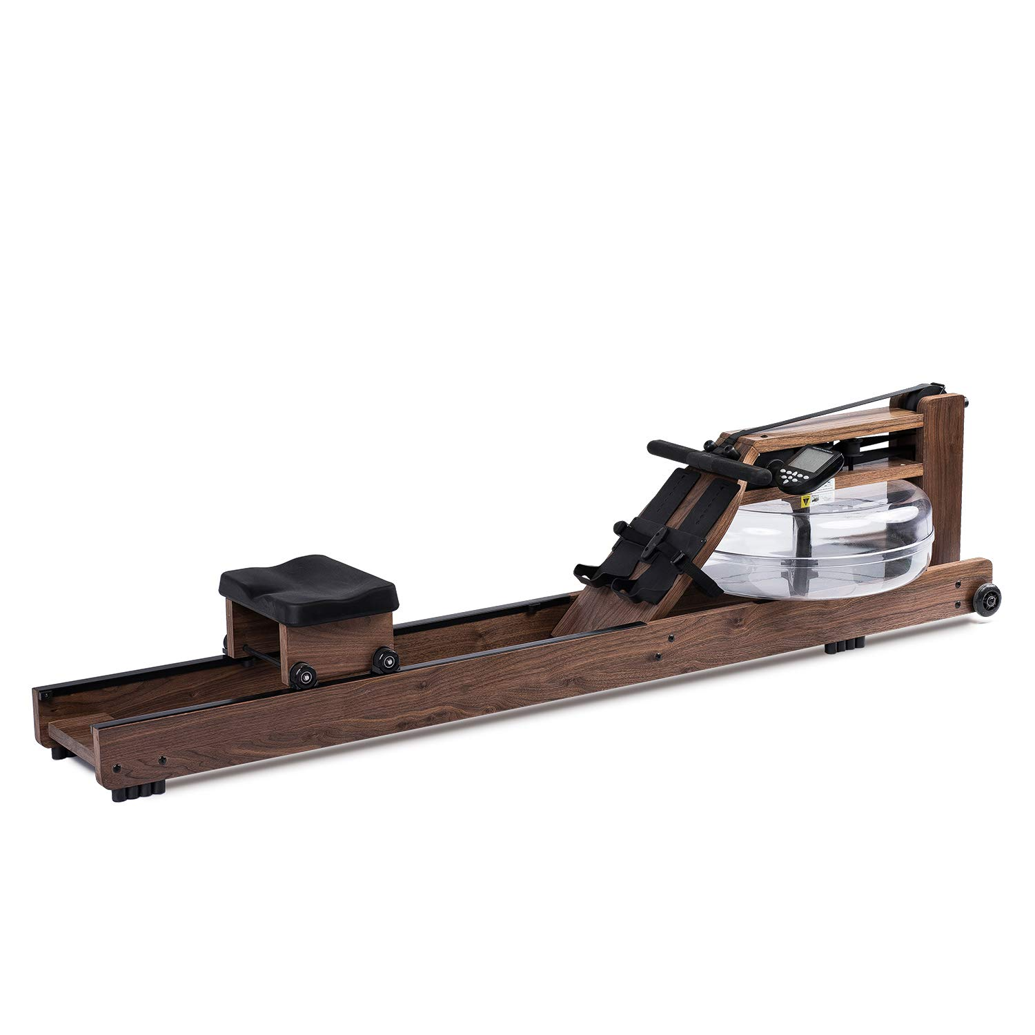 Eriding Rowing Machine Wood Water Rower with Monitor Black Walnut