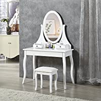 Organizedlife White Makeup Vanity Desk Set with Bench,Drawers and Large Mirror
