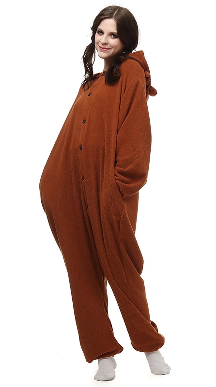 f3561f190f20 Amazon.com  Soft Fleece Animal Cartoon Onesie Adult Pajamas Brown Bear 008   Clothing