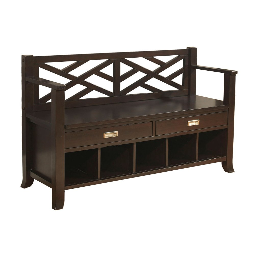Amazon.com: Simpli Home Sea Mills Entryway Bench W/ Drawers U0026 Shoe Cubbies,  Espresso Brown: Kitchen U0026 Dining