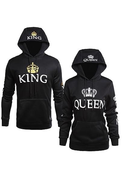 Jumojufol Womens Couple Sweatshirt Casual King Queen Pullover Hooblack Wowen L Men L