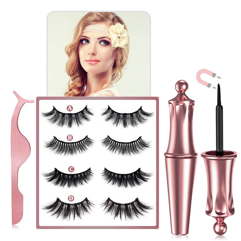 4 pairs Reusable Magnetic Eyelash, 2020 Upgraded 3D Waterproof Magnetic Eyeliner and Multi Styles Lashes With Tweezers - No Glue Needed