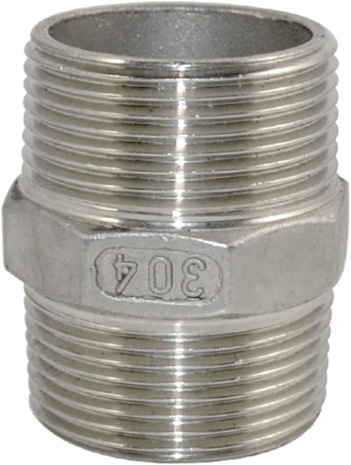 Stainless Steel 2 x 2 NPT Male Hex Nipple Pipe Threaded Pipe Fitting SS304 New