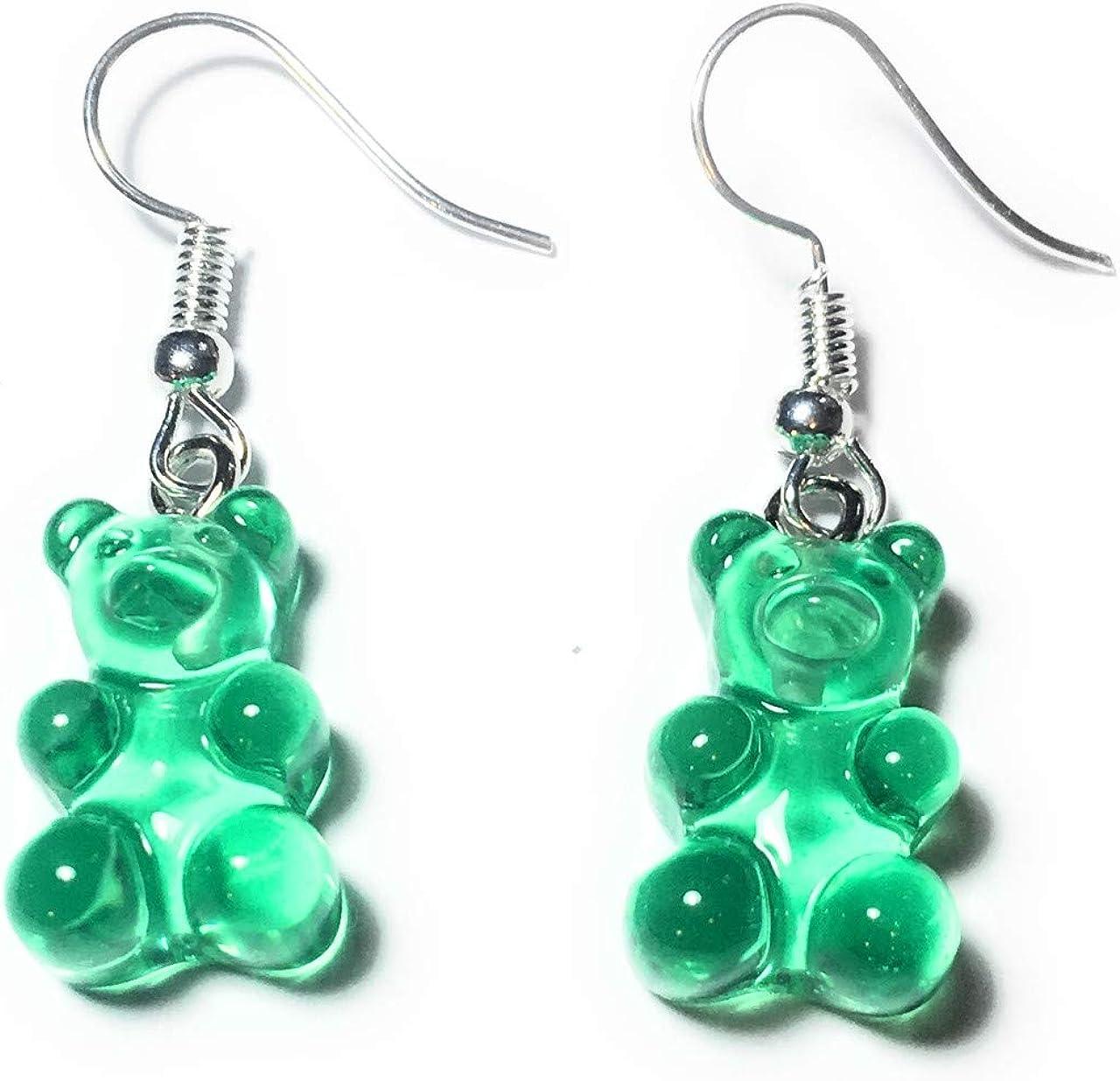 Regalos FizzyButton translúcido Gummy Bear bebé de la Jalea Los Pendientes de Gota (Verde) con los alambres de Plata oído Plateado