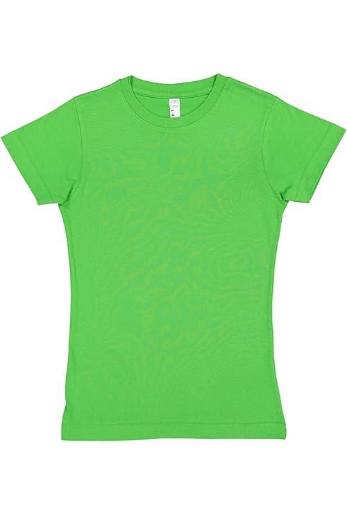 8703f58aba923c Amazon.com  LAT Girls  100% Cotton Fine Jersey Crew Neck Short Sleeve Tee   Clothing