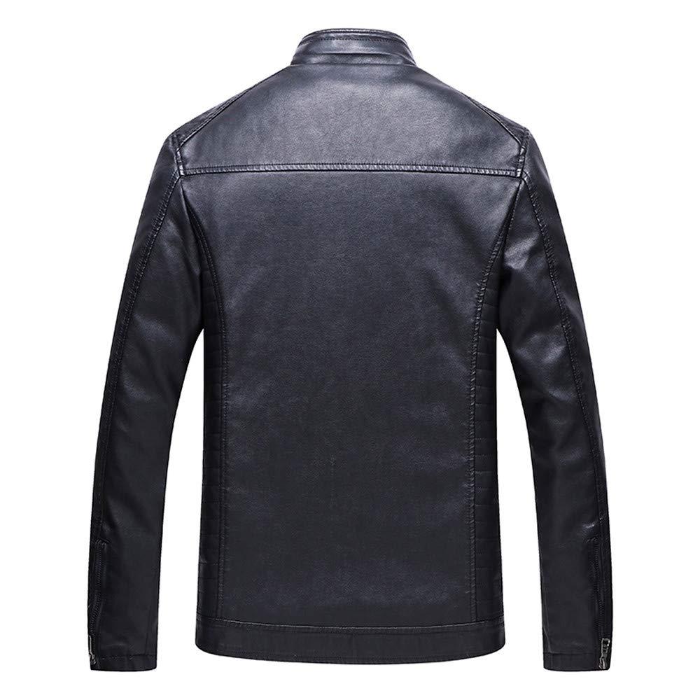 ... Bomber Plus Size Collar De Pie Cremallera Cazadora Abrigo Chaquetas De PU Cuero Moto para Hombre Abrigo Impermeable: Amazon.es: Ropa y accesorios