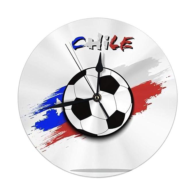 auguce Reloj de Pared Moderno Balón de fútbol Bandera de Chile en ...
